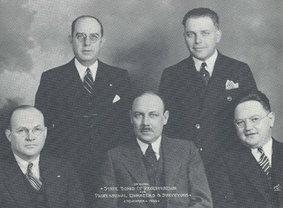 Original Ohio Board of Registration for Professional Engineers and Surveyors in 1933.  Front row:  Hal G. Sours, PE, John O. McWilliams, PE, and Walter W. Graf, PE.  Back row:  Curtis Lattimer, PE, and Perry T. Ford, PE.